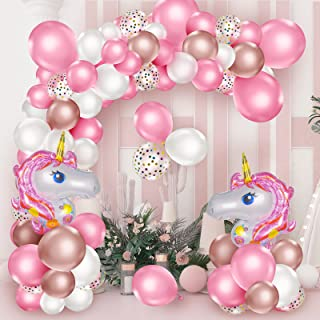 Unicorn Party Decorations for Girls,142pcs Pink Balloon Arch and Garland Kits with 40 Inch Unicorn Balloons Set,Pink,Rose ...