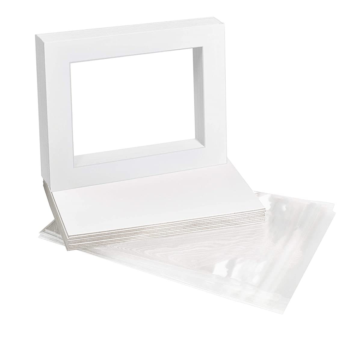 Golden State Art, Pack of 10, 11x14 White Picture Mat Full Set - Fit 8.5x11 Photo/Certificate - High Premier Acid Free Bevel Pre-Cut White Core Mattes - Includes 10 Backing Backer Board & Clear Bags