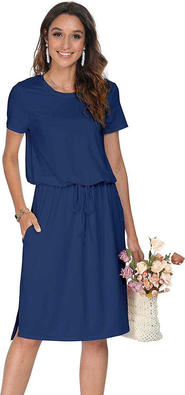 Simier Fariry Womens Adjustable Waistline Midi Dress with Pockets