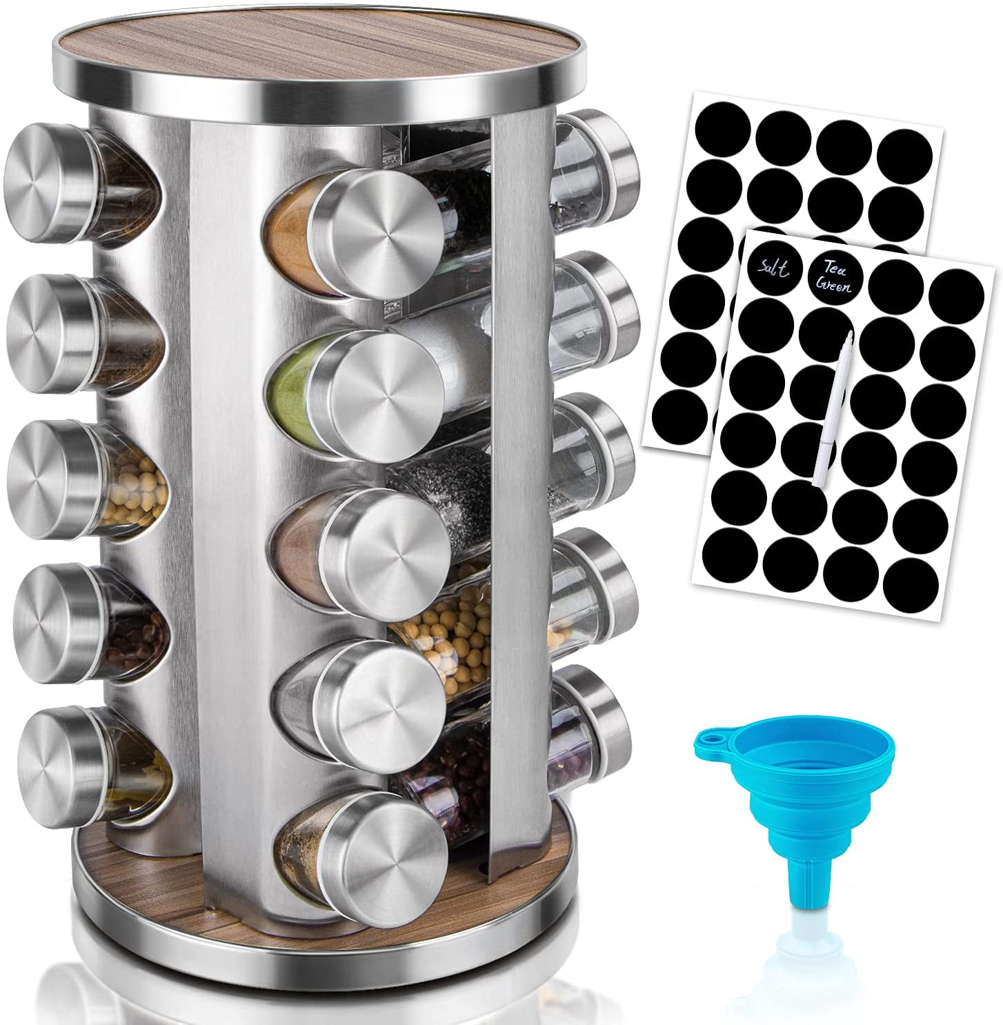 Rotating Spice Rack Organizer with Jars(20Pcs), Seasoning Organizer for Cabinet, Kitchen Spice Racks for Countertop, Revolving Farmhouse Spice Organizer : Home & Kitchen