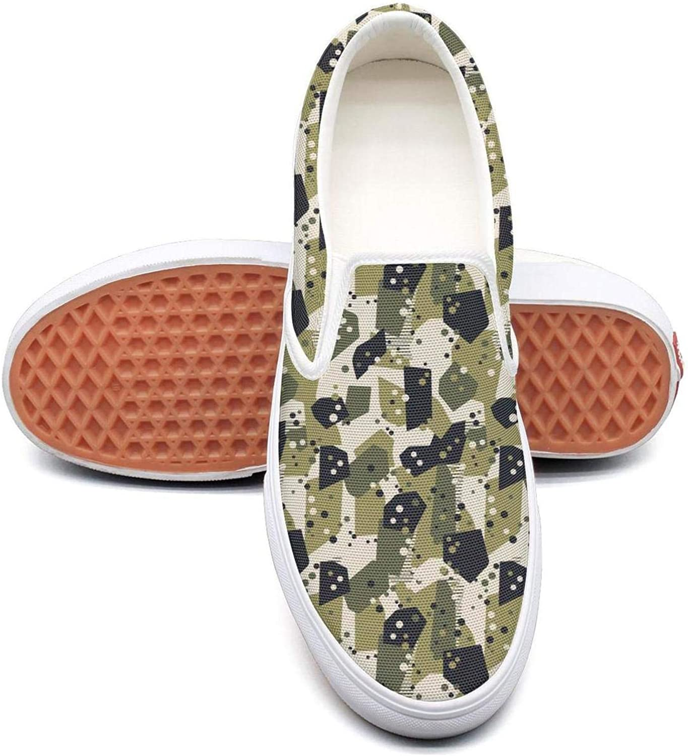 Uieort Lighweight Camo Camouflage Art Mens Slip On Sneakers shoes Rubber Sole