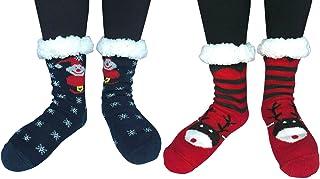 2 Pairs Women Winter Thermal Knit Thick Slipper Socks Non Skid Crew Home Socks