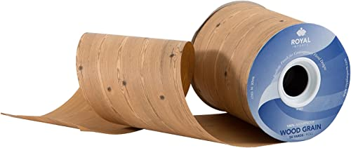 """lowest Wood Grain Pattern Poly discount Satin Waterproof Print Ribbon 4"""" (#100) Floral & Craft Decoration, 50 discount Yard Roll (150 FT Spool) Bulk, by Royal Imports, Wood sale"""