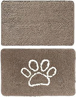 Gorilla Grip Original Indoor Durable Chenille Doormats, 24x17 Beige and 24x17 Paw Beige Ivory, 2 Item Bundle