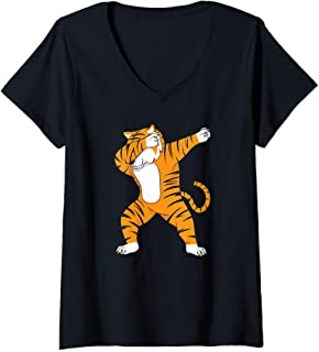 Womens Dabbing Tiger Dab Funny Gift idea for men women kids cute V-Neck T-Shirt