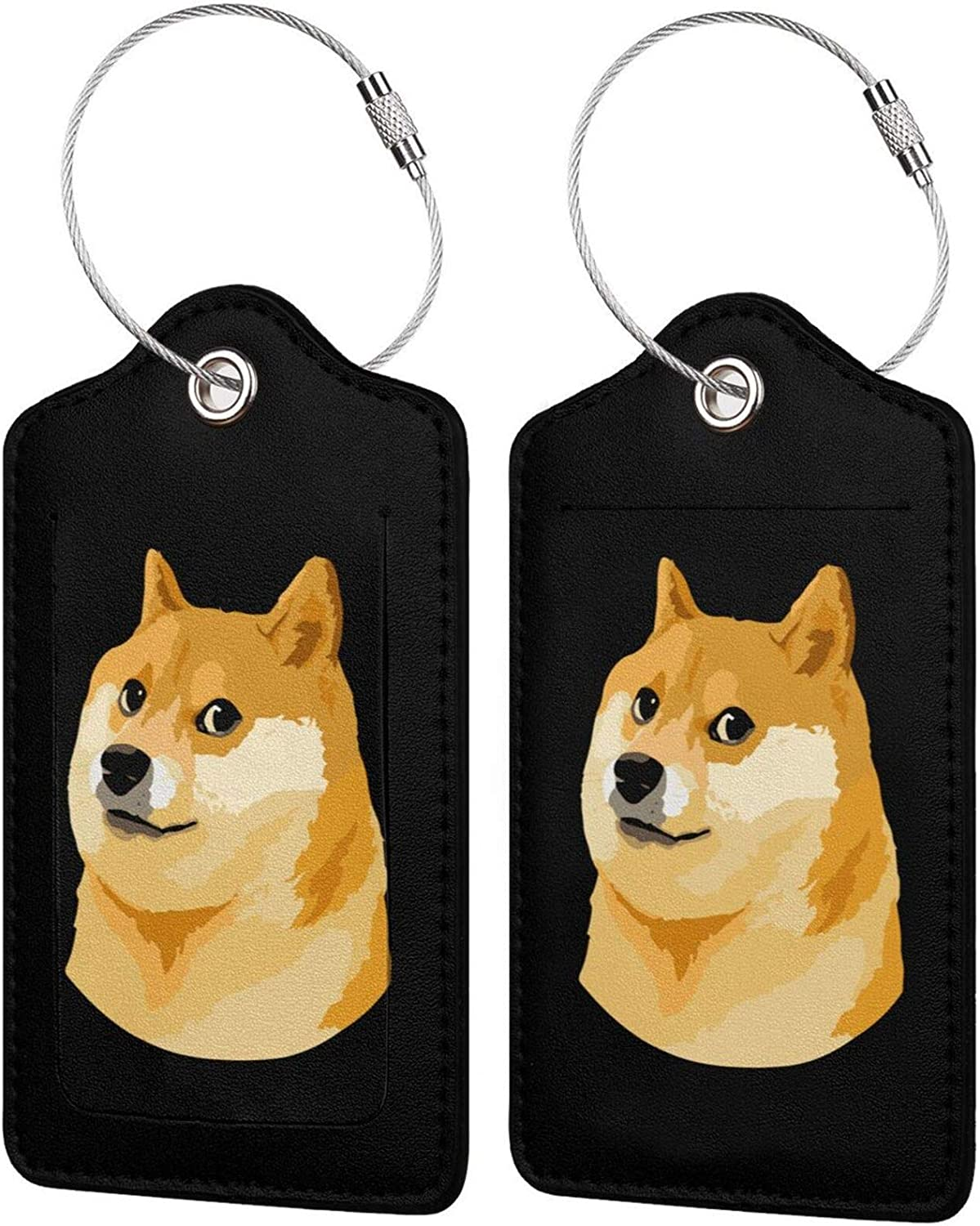 Doge excellence Dog PU Leather Baggage tag Privacy Ranking TOP6 Rectangle with Set Cover