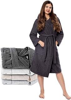 Albornoz de Baño para Mujer con Capucha - 100% Algodón Certificado Oeko Tex - Bata Baño Mujer 2 Bolsillos, Cinturón y Cierre - Suave, Absorbente y Cómodo