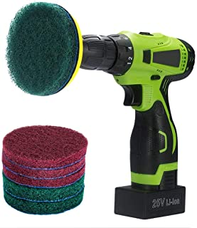 Kichwit 4 Inch Drill Power Brush Scrubber Scouring Pads, Includes Drill Attachment, 3 Red Pads and 3 Stiff Green Pads, Hea...