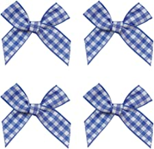 Gingham Craft Ribbon Bows Mini Checkered Ribbon Flowers Appliques for Sewing, Gift, DIY Craft, Wedding Decoration Ornament (Blue and White, 48PCS)