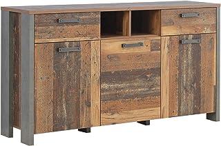 Sideboard 3-trg 2 Schubkästen CLIF von Forte Old Wood Vintage / Betonoptik Dunkelgrau i by Wohnorama