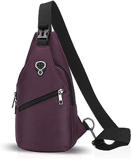 FANDARE Sling Bag Rucksack Umhängetasche Brusttasche Messenger Bag Schultertasche Hiking Bag Daypack Crossbody Bag Chest Pack Sports Reisetasche Polyester Lila