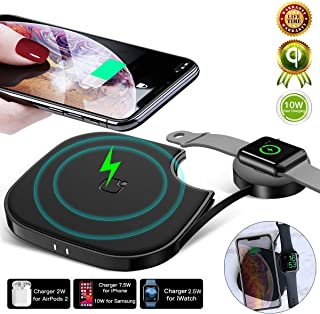 10W Wireless Charging Pad 3 in 1 Qi Fast Wireless Charger Compatible with iPhone Xs Max/xr/xs/8 plus/8, Samsung S10/s10 plus/s10e/S9,Apple Watch 4/3/2/1,Airpods2 and Qi-enable Phone