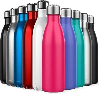 Invool Macreal Botella de Agua de Acero Inoxidable,diseño de Pared Doble,Boca estándar,para Correr, Gimnasio, Yoga, Ciclismo