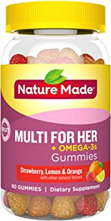 Nature Made Women's Multivitamin + Omega-3 Gummies, 80 Count for Daily Nutritional Support† (Packaging May Vary)