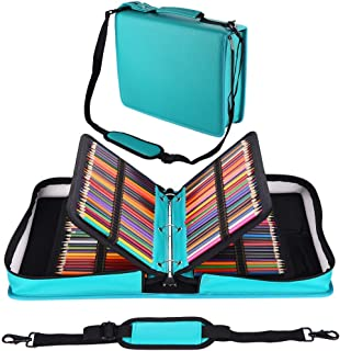 Shulaner 180 Slots PU Leather Colored Pencil Case Organizer Large Capacity Carrying Bag for Prismacolor Watercolor Pencils, Crayola Colored Pencils, Marco Pens, Gel Pens (Lake Blue, 180)
