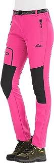 DFENGEA Women's Hiking Pants Outdoor Waterproof Windproof Softshell Fleece Slim Snow Ski Pants