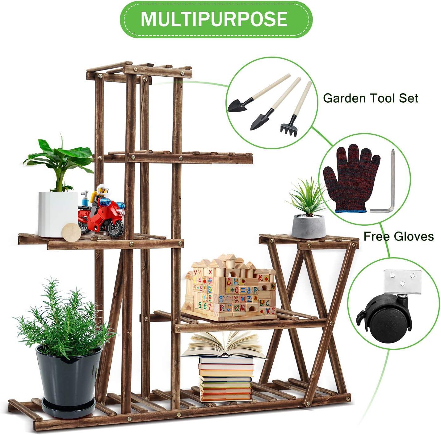 cfmour Wood Plant Stand Indoor Outdoor, Plant Display Multi Tier Flower  Shelves Stands, Garden Plant Shelf Rack Holder in Corner Living Room  Balcony ...
