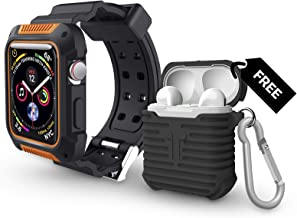 Apple Watch Series 4 44MM Rugged Protective Black/Orange Case with Strap Band Plus Free Black AirPods Silicone Protective Case Cover. Water Resistant