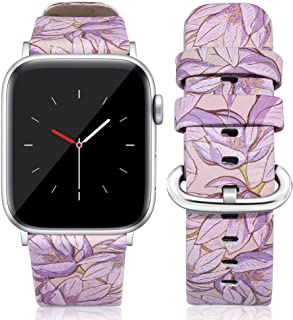 Compatible for Leather Apple Watch Band 40mm 38mm, Women Floral Strap Wrist, Replacement Bands for iWatch Series 4, Series 3, Durable Prints, Smooth Synthetic Leather - Mysterious Violet