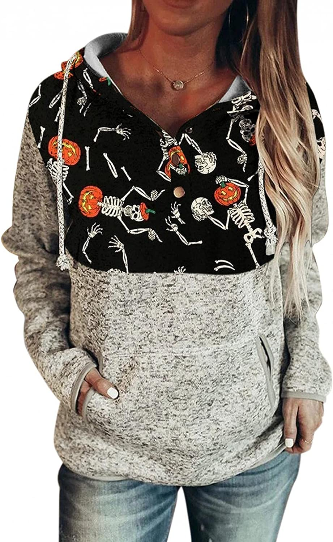 AODONG Women's Halloween Printed Long Sleeve Tunics Tops Casual Elegant Loose Hoodies Sweatshirts Pullover with Pocket
