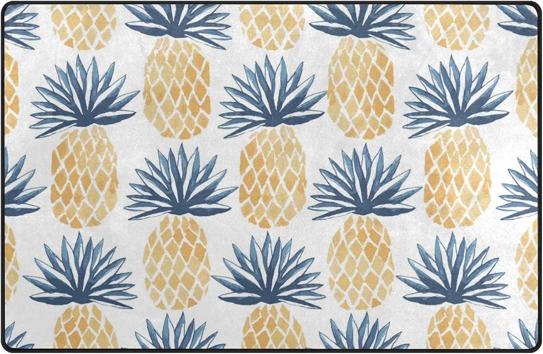 HEOEH Yellow bluee Pineapple Fruit Doormats Area Rug Rugs Non-Slip Floor Mat Indoor Outdoor 60x39 inch