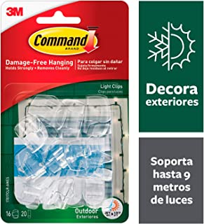 Command Outdoor Light Clips, 16 clips, 20 strips, Water-Resistant Adhesive (17017CLR-AWES)