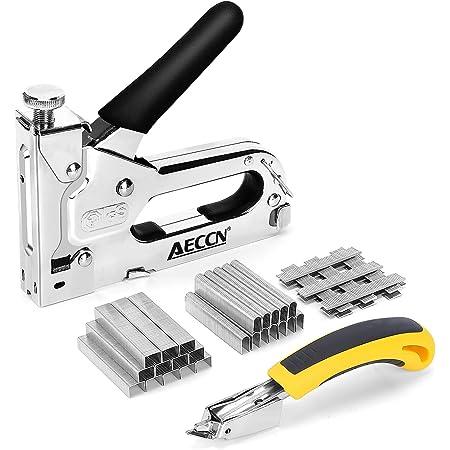 Graffatrice Manuale - AECCN Professionale 3 in 1 Pistola per Sparapunti con 2100 Graffette, 3 vie Pistola per Graffette/Graffatrice per Tappezzeria, Decorazione, Mobili, Porte e Finestre