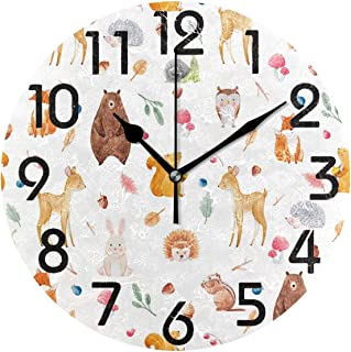 Dozili Stylish Cute Animal Collection Pattern Round Wall Clock Arabic Numerals Design Non Ticking Wall Clock Large for Bedrooms,Living Room,Bathroom