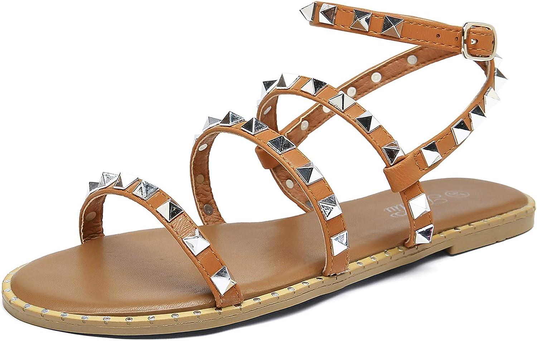 Katliu Women's Flat Sandals Studded Sa 驚きの価格が実現 Gladiator 人気海外一番 Strappy