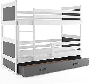 Interbeds Lit superposé Rico 160x80 avec sommier, Matelas et tiroir-Coffre, Blanc + la 2eme Couleur choisie (Blanc+Gris)