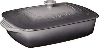 "Le Creuset Stoneware Covered Rectangular Casserole, 3.5 qt. (12.5"" x 8.5""), Oyster"