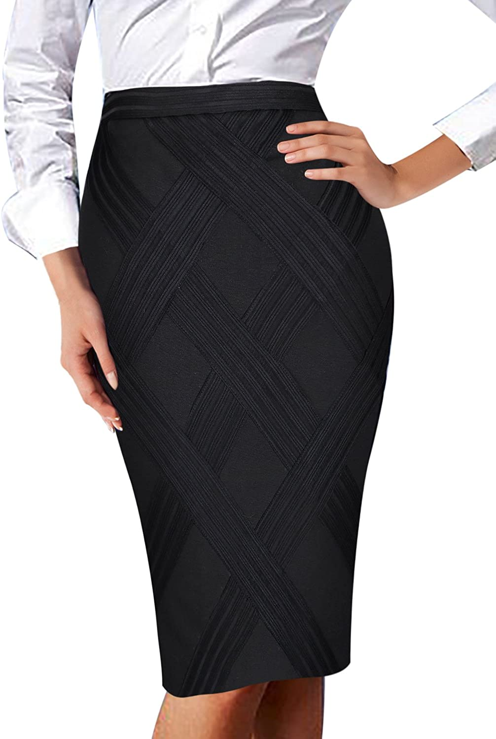 VFSHOW Womens Elegant Patchwork High Waist Wear to Work Party Pencil Skirt