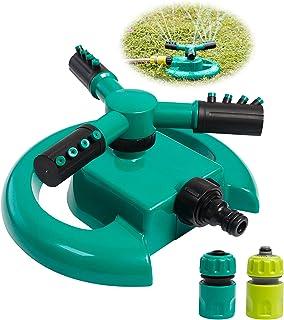 Garden Sprinkler, Automatic Water Sprinkler for Garden Lawn 3-Arm 360 Degree Rotating Green Grass Lawn Spray Sprinkler Irr...