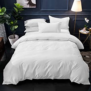 Merryfeel Cotton Duvet Cover Set,100% Cotton Embroidery with Pretty Lace Comforter Cover with 2 Pillowshams White- Full/Queen