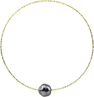 Tahitian Cultured Pearl Indian Metal Bangle bracelets for women 8 Inches