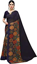 Anni Designer Women's Georgette Printed Navy Color Saree With Blouse Piece (BIJU_NAVY_Free Size)