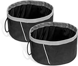 PAWABOO Pet Dog Cat Travel Bowls, [2PACK] 2000 ML Capacity Collapsible Portable Fabric Pet Travel Bowl Feeder for Pet Dog Cat Food or Water, Set of 2