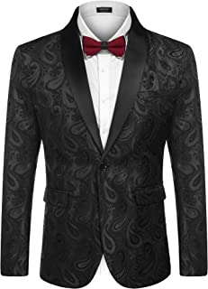 Coofandy Mens Floral Tuxedo Jacket Paisley Shawl Lapel Suit Blazer Jacket for Christmas,New Year's Party,Dinner,Prom