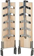Relaxdays Vlamzalmplanken set van 2, rookplank voor zalmfilet, cederhouten plank, kantelbare roestvrijstalen houders, naturel