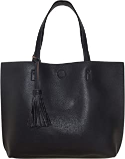 Humble Chic Large Vegan Leather Tote Bag - Reversible Shoulder Handbag Tassel Purse for Women