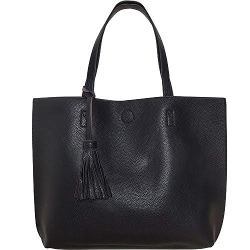 Humble Chic Large Vegan Leather Tote Bag Reversible Shoulder Handbag Tassel  Purse 5c6d53d4bde4e