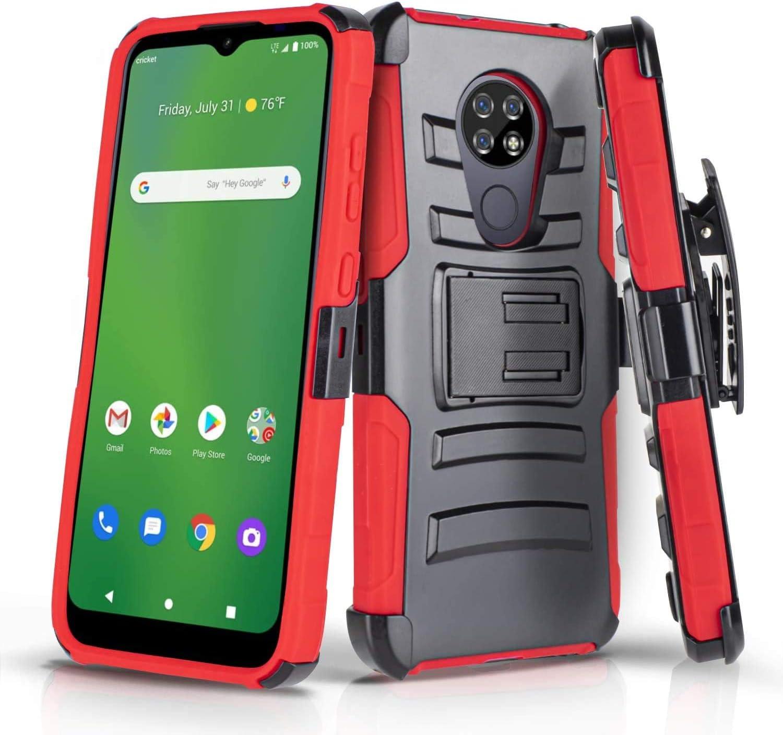 AmeriCase - [ Cricket Ovation/AT&T Radiant Max ] Hybrid Defender Phone Case W/Belt Clip Holster (Red)