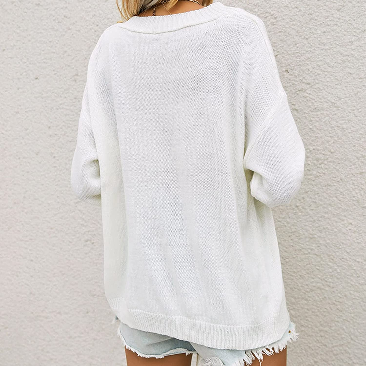 A2A Button Sweatshirt for Women Round Neck Long Pullover Solid Color Large Size Casual Single-Breasted Knitted Sweater