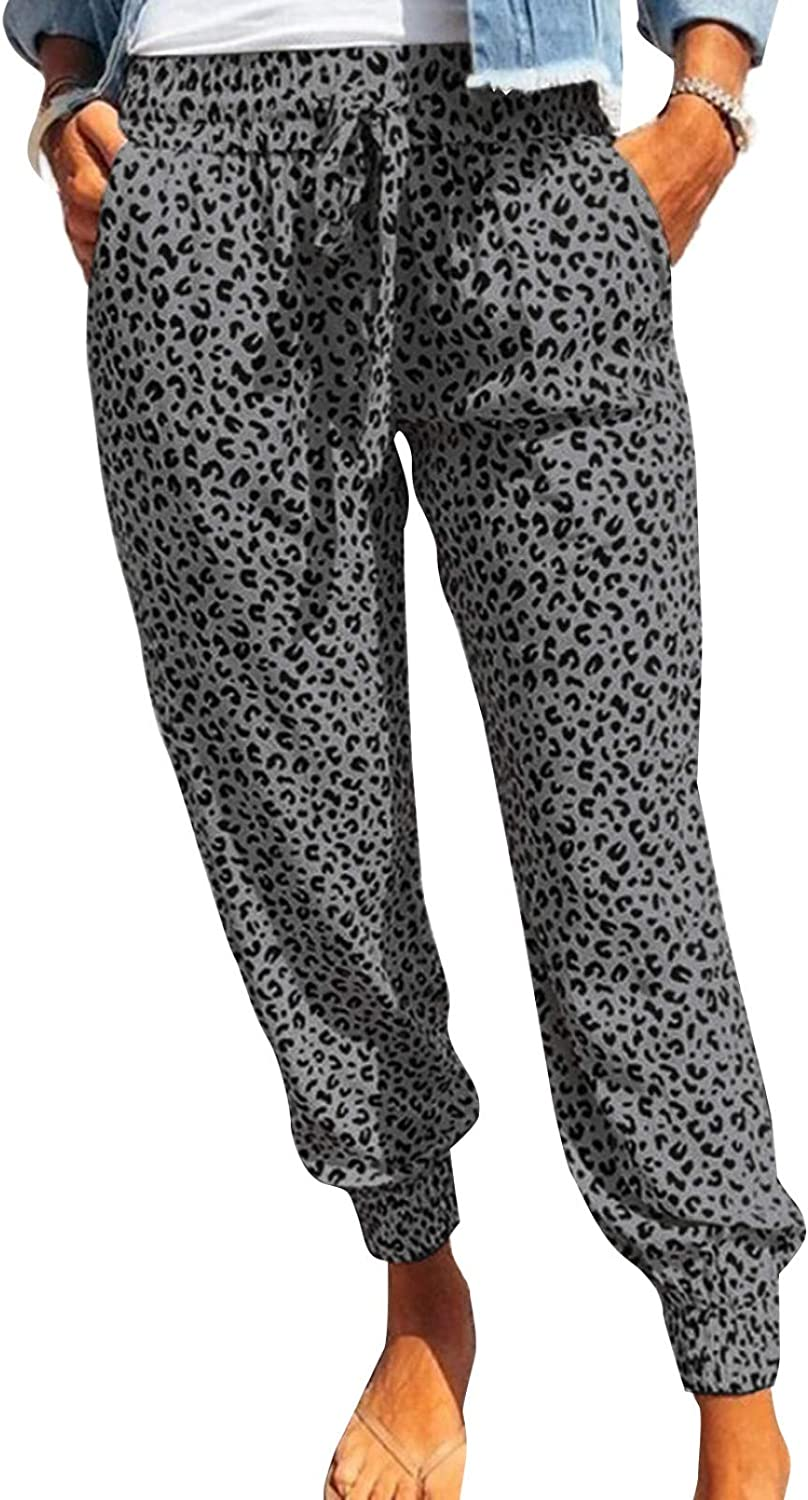 ROSKIKI Womens Leopard Drawstring Elastic Waist Lounge Sports Pa Challenge the lowest price Large special price