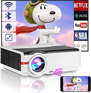 6000 Lumen HD Wifi Projector with Bluetooth Support 1080P, LED Smart Android Wireless Home Outdoor Movie Projector USB HDM...