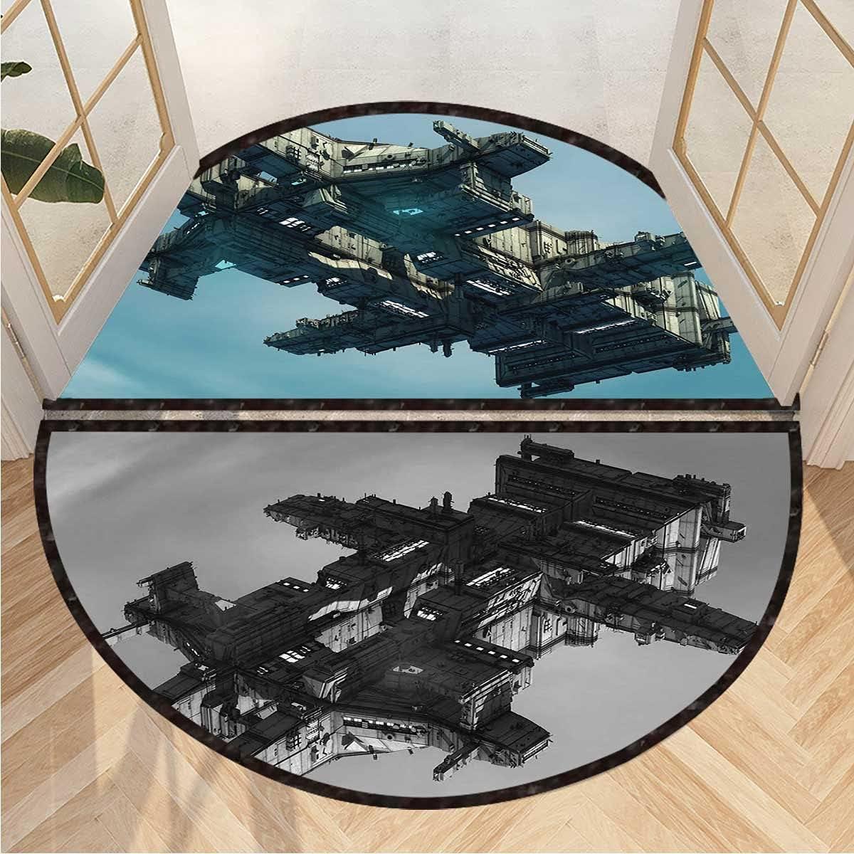 Semicircular Floor Mat Sci Fi Alien UFO Half online shop Outdoor Indoor Ship Fashionable