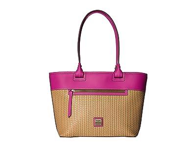 Dooney & Bourke Beacon Woven Zip Tote (Sand/Magenta Trim) Tote Handbags