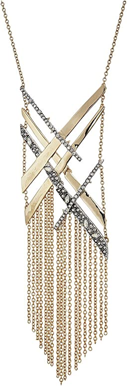 Alexis Bittar - Crystal Encrusted Organic Link Tassel Bib Necklace