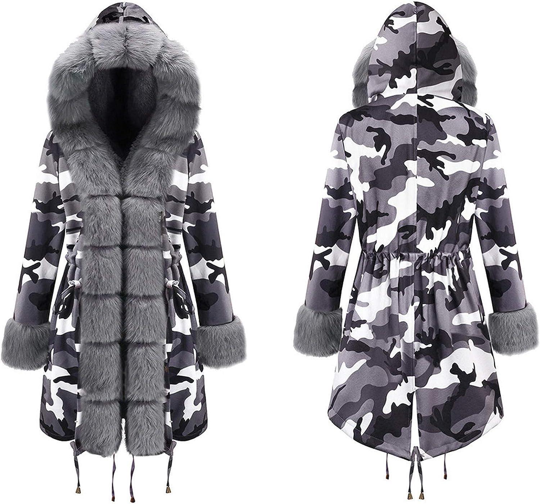 Forwelly Womens Winter Overcoat Camo Print Ladies Zipper Trenchcoat with Plush Hood Long Windproof Warm Jacket