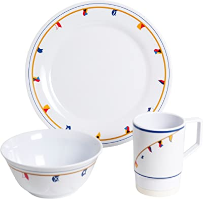 Galleyware Flags 12 Piece Melamine Non-Skid Dinnerware Set